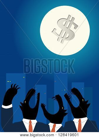 Downtown business wolves howling at the full Moon EPS 8 vector illustration
