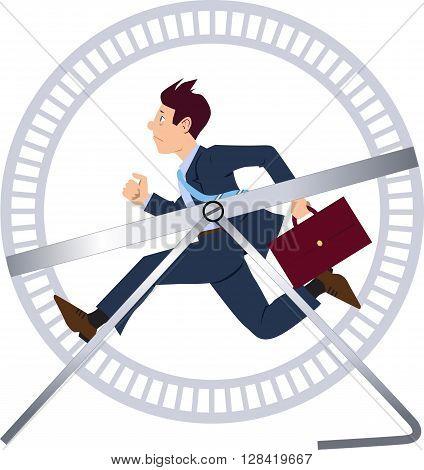 Businessman running in a hamster wheel EPS 8 vector illustration