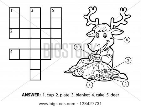 Vector colorless crossword education game for children. Cute deer drinking tea and eating cake poster