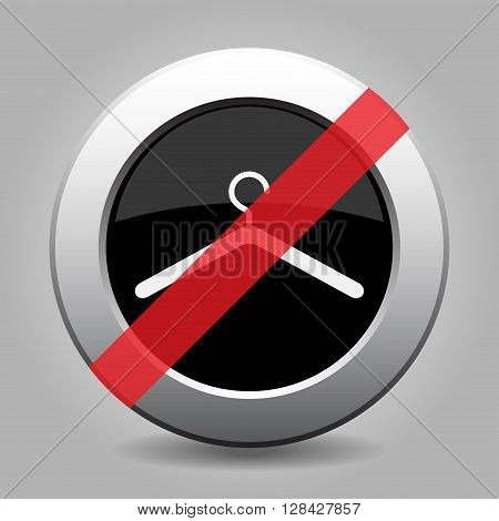gray chrome button with no clothes hanger - banned icon