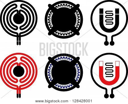 Gas electric and induction cooktop icons. Black and colored on white.