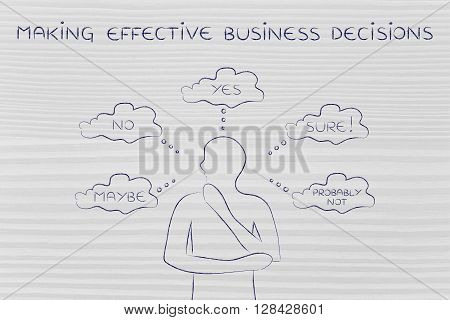 Thoughtful Man Trying To Choose, Making Effective Business Decisions