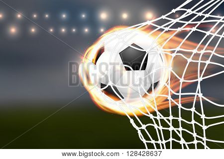 Flying Soccer Balloon With Flames In Goal