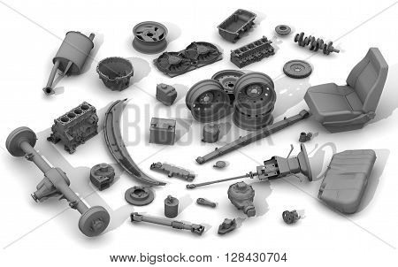 Details of the car. Parts of the car lying on a white surface. Isolated. 3D Illustration