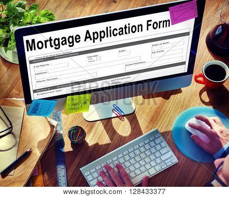 Mortgage Application Form Information Details Concept