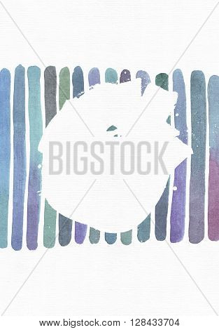 Blue and purple illustration cool and branding freehand texture based on watercolor gradient stripes and splash circle for your text. Large grainy bright with imperfections image for your creative design