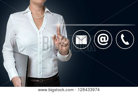 Contact Options Touchscreen Is Operated By Businesswoman