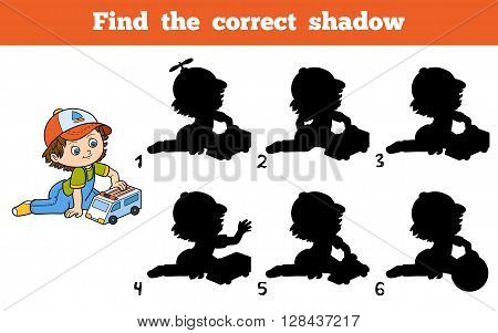 Find The Correct Shadow. Little Boy Plays With Ambulance Car