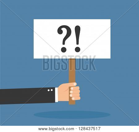 Man holding question mark vector illustration isolated on background
