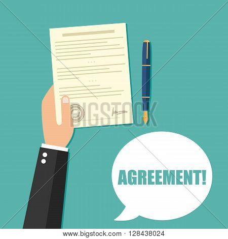 Hand holding contract agreement vector illustration isolated on background