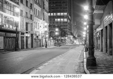 Sao Paulo, Brazil - January 25: Streets At Night Downtown Sao Paulo, Brazil, On January 25, 2016, In