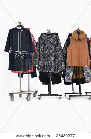 Set of female,clothes rack display