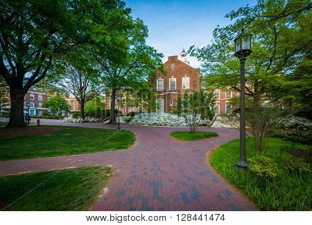Walkways And Buildings At Johns Hopkins University, In Baltimore, Maryland.