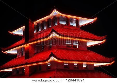 The Pagoda On Skyline Drive At Night, In Reading, Pennsylvania.