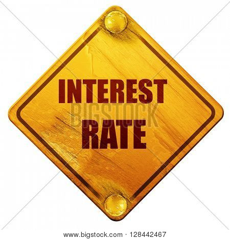 Roadsign of higher interest rates ahead against blue sky, 3D rendering