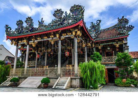 Penang Malaysia - September 3 2013: Famous Chinese clanhouse Leong San Tong Khoo Kongsi Chinese temple a major historic attraction in historic George Town, Penang.