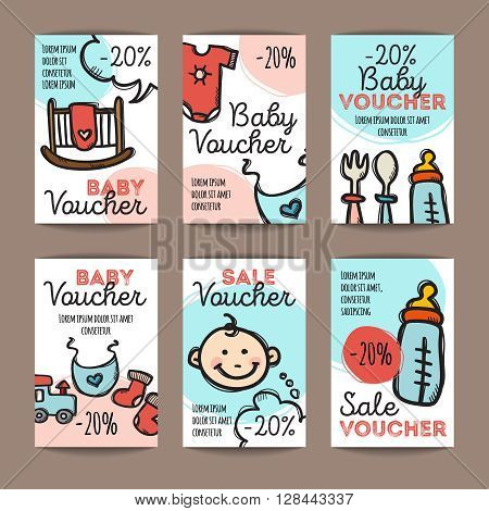 Vector set of discount coupons for baby goods. Colorful doodle discount voucher templates. Baby accessories and clothes promo offer cards.