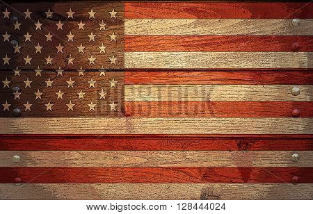 A grunge USA flag on wooden background poster effect