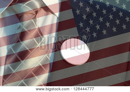 American flag and Businessman in Suit with blank badges concept of American election