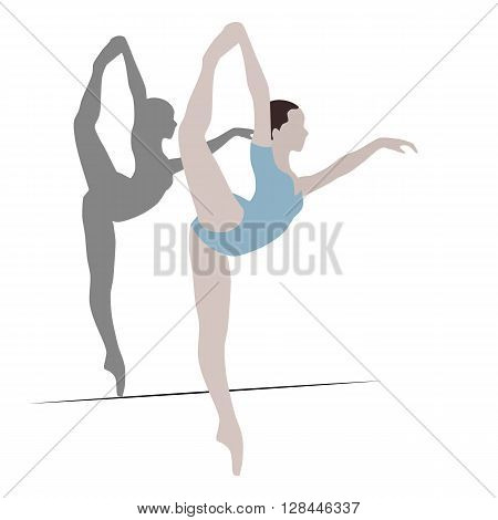 Illustration with a ballet dancer in the dance. Vector background