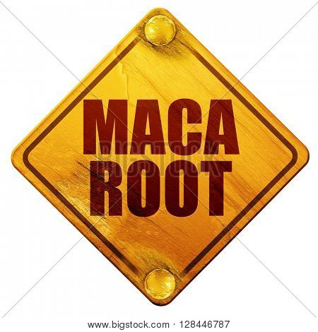 maca root, 3D rendering, isolated grunge yellow road sign