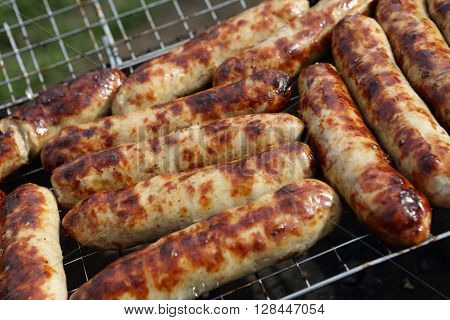 Roasted Sausages On The Grill