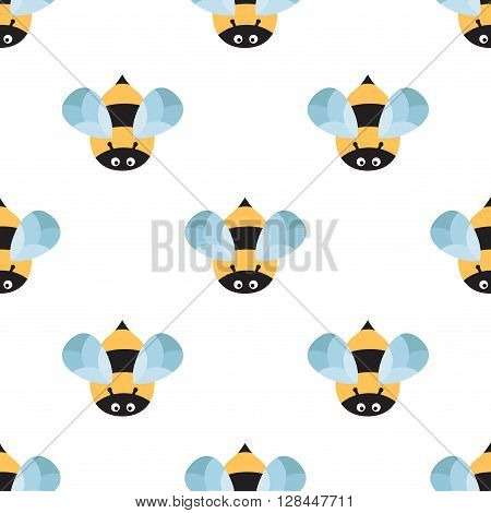 Bees on a white background. Cute cartoon pattern with insects in flight