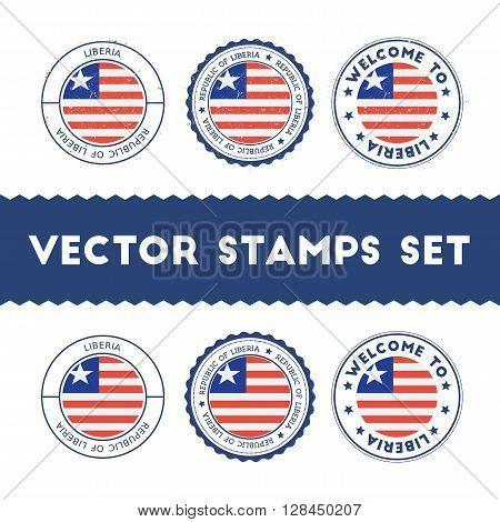 Liberian Flag Rubber Stamps Set. National Flags Grunge Stamps. Country Round Badges Collection.