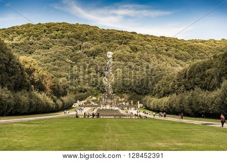 CASERTA - DECEMBER 7: the beautiful fountain in the Royal Palace garden on December 7 2014 in Caserta Italy