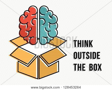 Think Outside The Box Concept With Brain Design