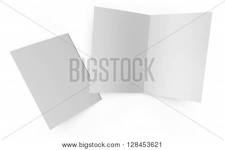 Open and closed folder isolated on white background. This mockup template includes a clipping path for easy booklet cover selection.