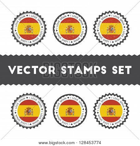 I Love Spain Vector Stamps Set. Retro Patriotic Country Flag Badges. National Flags Vintage Round Si