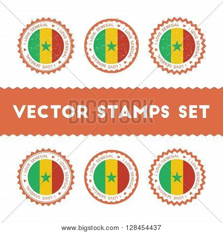 I Love Senegal Vector Stamps Set. Retro Patriotic Country Flag Badges. National Flags Vintage Round