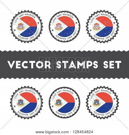 I Love Sint Maarten Vector Stamps Set. Retro Patriotic Country Flag Badges. National Flags Vintage R