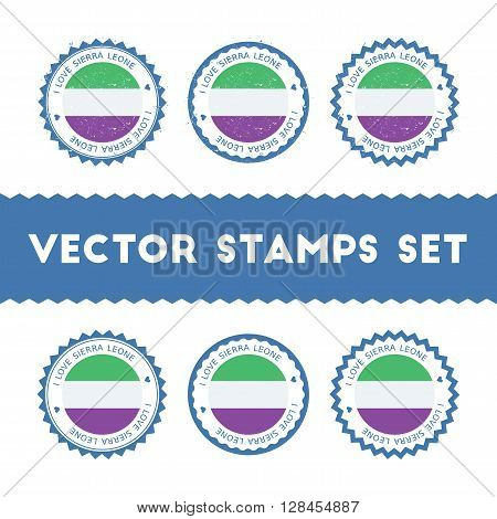 I Love Sierra Leone Vector Stamps Set. Retro Patriotic Country Flag Badges. National Flags Vintage R