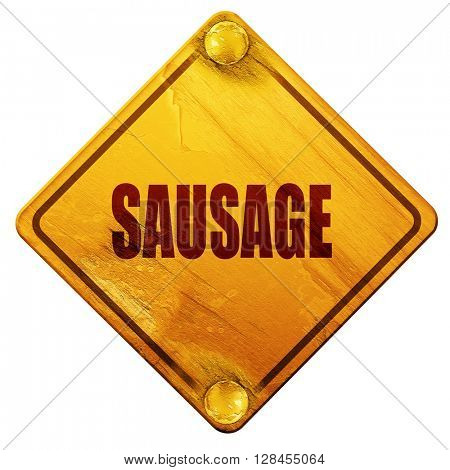 Delicious sausage sign, 3D rendering, isolated grunge yellow roa