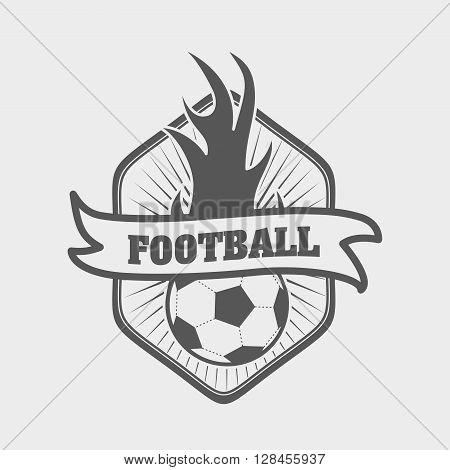Football Or Soccer Logo, Label Or Badge Template With Ball On Fire