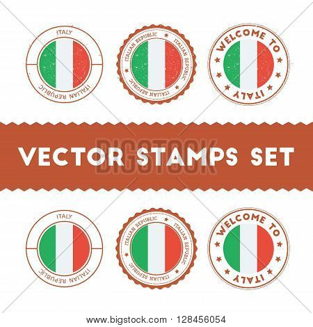 Italian Flag Rubber Stamps Set. National Flags Grunge Stamps. Country Round Badges Collection.