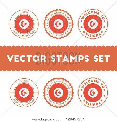 Tunisian Flag Rubber Stamps Set. National Flags Grunge Stamps. Country Round Badges Collection.