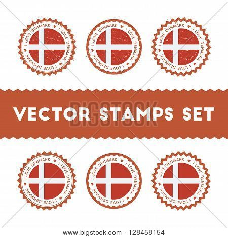 I Love Denmark Vector Stamps Set. Retro Patriotic Country Flag Badges. National Flags Vintage Round