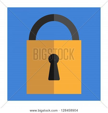 Padlock - flat design on blue background