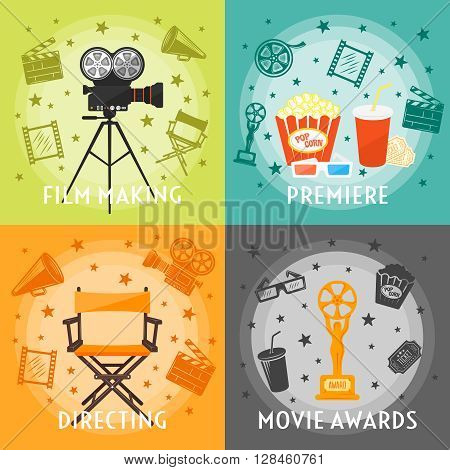 From film making to awards concept with premiere directing movie equipment drinks snacks stars isolated vector illustration