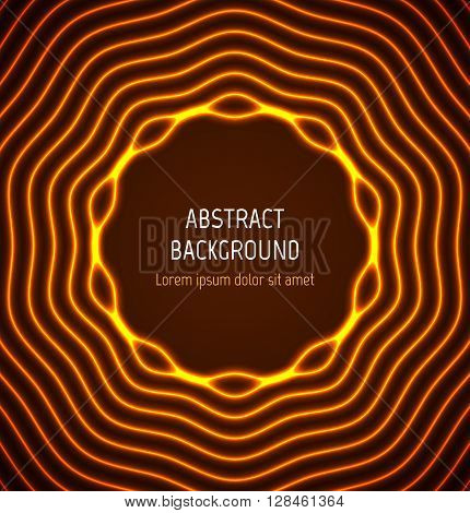 Abstract orange circle border background with light effects. Vector illustration