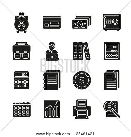 Accauntant black sillhouette icon set with aquipment and symbols of bookkeeping vector illustration