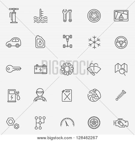 vector outline icons. Car part. Tools, service