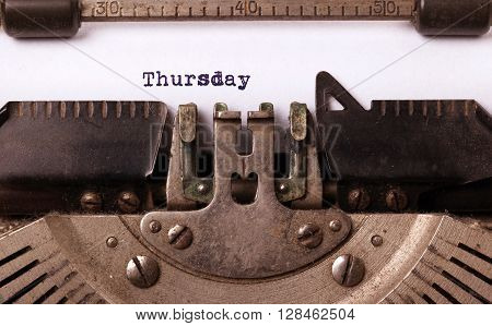 Thursday Typography On A Vintage Typewriter