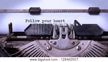 Vintage Typewriter - Follow Your Heart Message