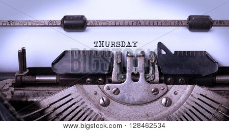 Thursday Typography On A Vintage Typewriter