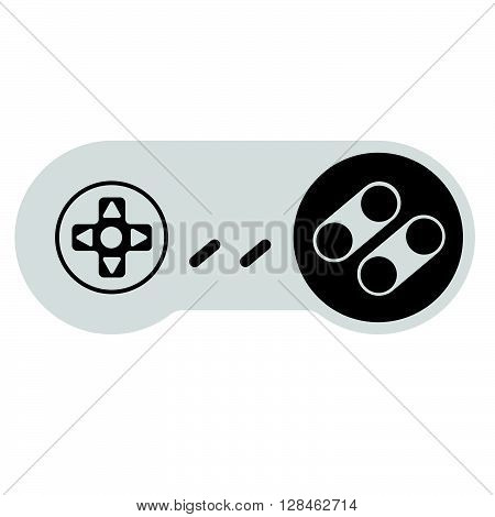 Retro Modern Console Controller For Old Video Games. Vector With White Background.