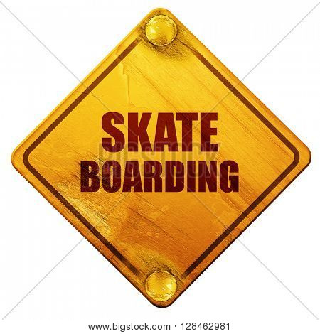 skate boarding sign background, 3D rendering, isolated grunge ye